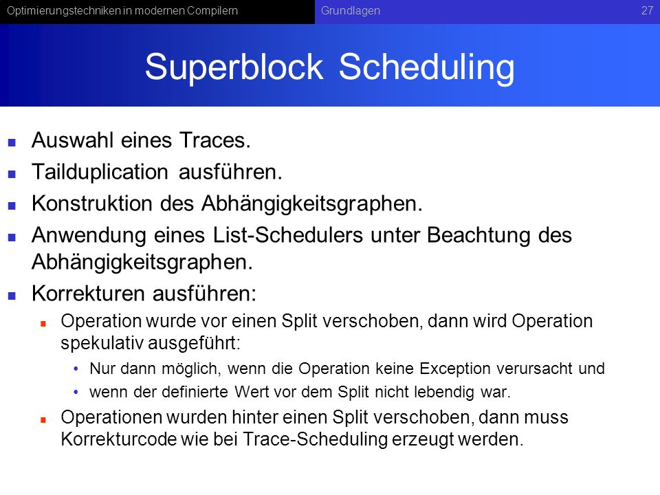Superblock Scheduling