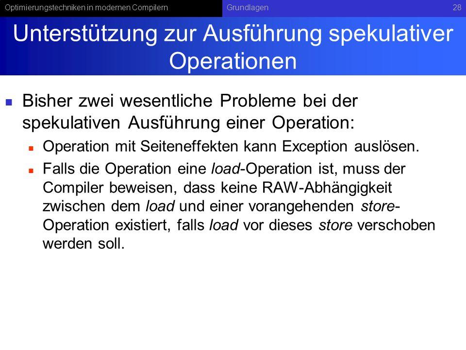 Unterstützung zur Ausführung spekulativer Operationen