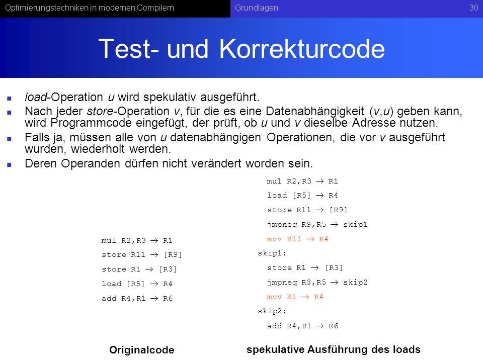 Test- und Korrekturcode