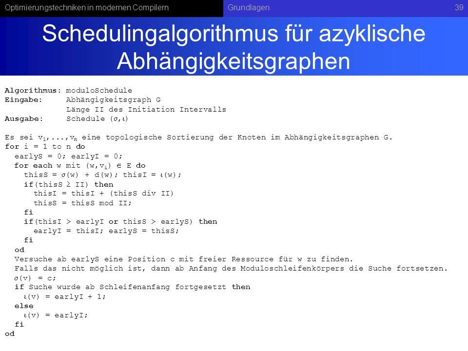 Schedulingalgorithmus für azyklische Abhängigkeitsgraphen