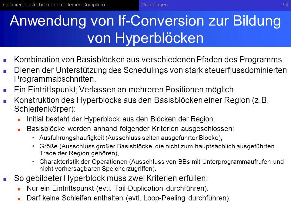 Anwendung von If-Conversion zur Bildung von Hyperblöcken