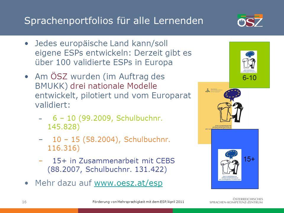 Sprachenportfolios für alle Lernenden