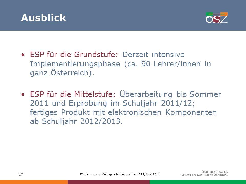 Ausblick ESP für die Grundstufe: Derzeit intensive Implementierungsphase (ca. 90 Lehrer/innen in ganz Österreich).