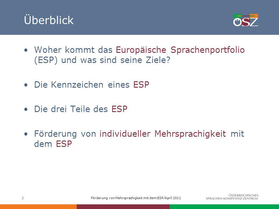 Überblick Woher kommt das Europäische Sprachenportfolio (ESP) und was sind seine Ziele Die Kennzeichen eines ESP.