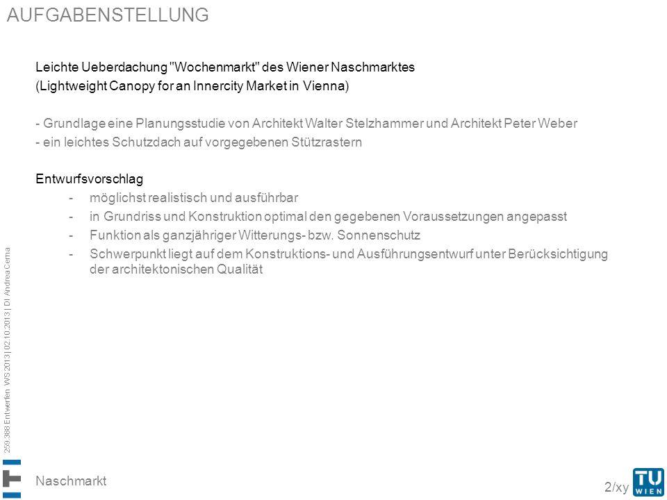 aufgabenstellung Leichte Ueberdachung Wochenmarkt des Wiener Naschmarktes. (Lightweight Canopy for an Innercity Market in Vienna)