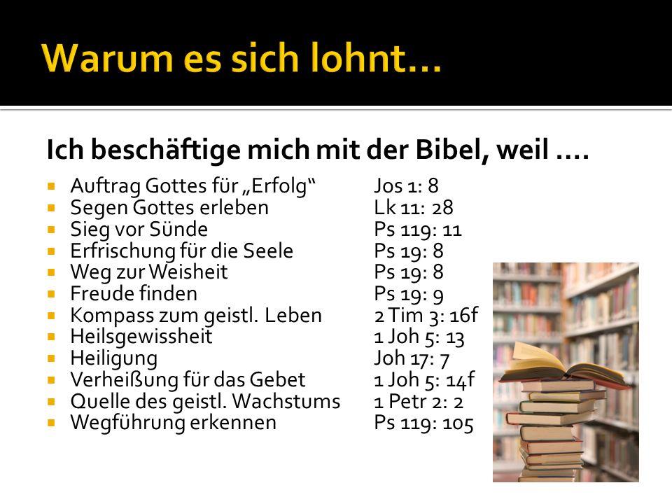 Warum es sich lohnt… Ich beschäftige mich mit der Bibel, weil ….