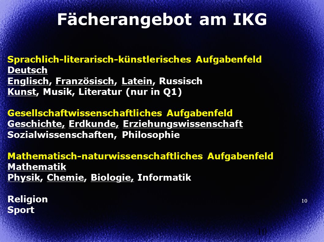 Fächerangebot am IKG Sprachlich-literarisch-künstlerisches Aufgabenfeld. Deutsch. Englisch, Französisch, Latein, Russisch.