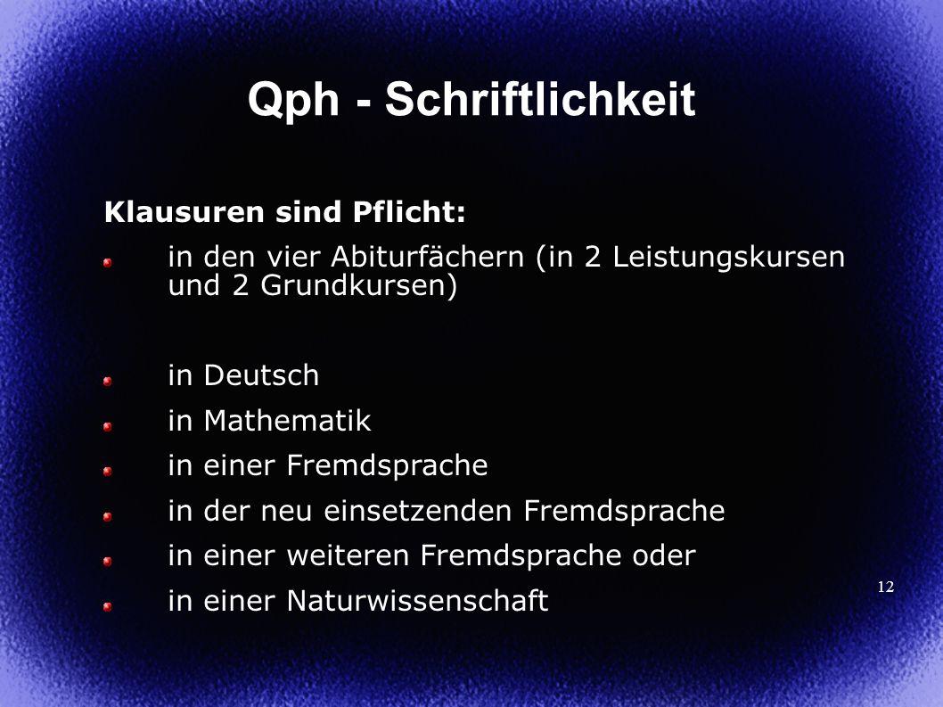 Qph - Schriftlichkeit Klausuren sind Pflicht: