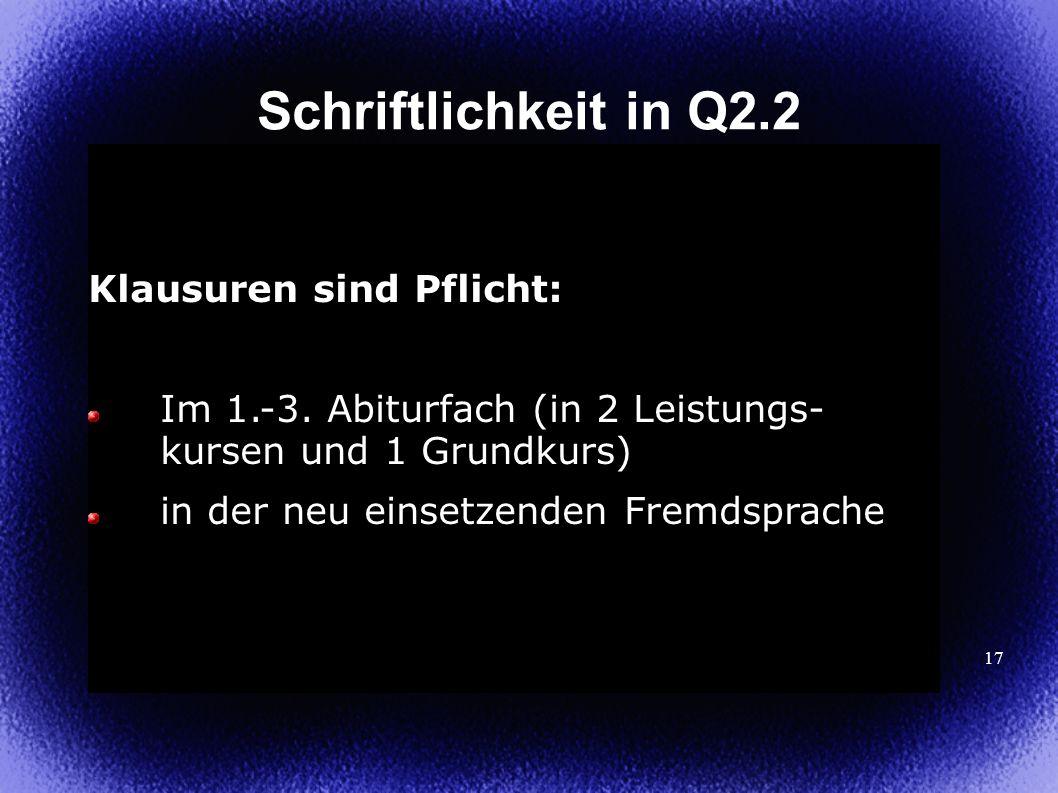 Schriftlichkeit in Q2.2 Klausuren sind Pflicht: