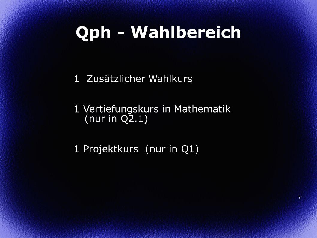 Qph - Wahlbereich 1 Zusätzlicher Wahlkurs