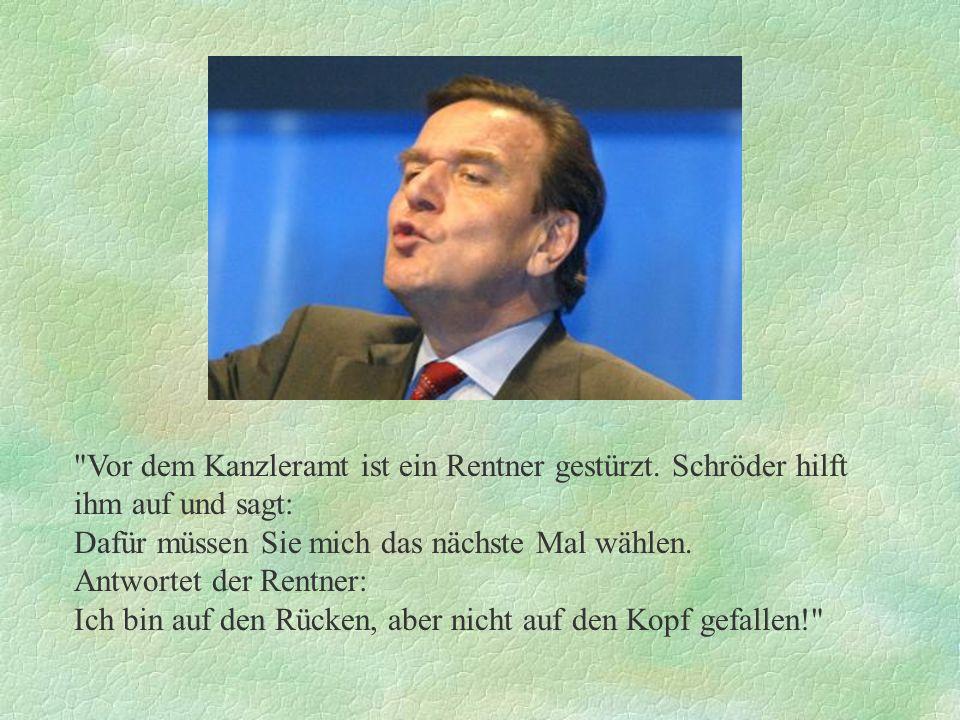 Vor dem Kanzleramt ist ein Rentner gestürzt. Schröder hilft