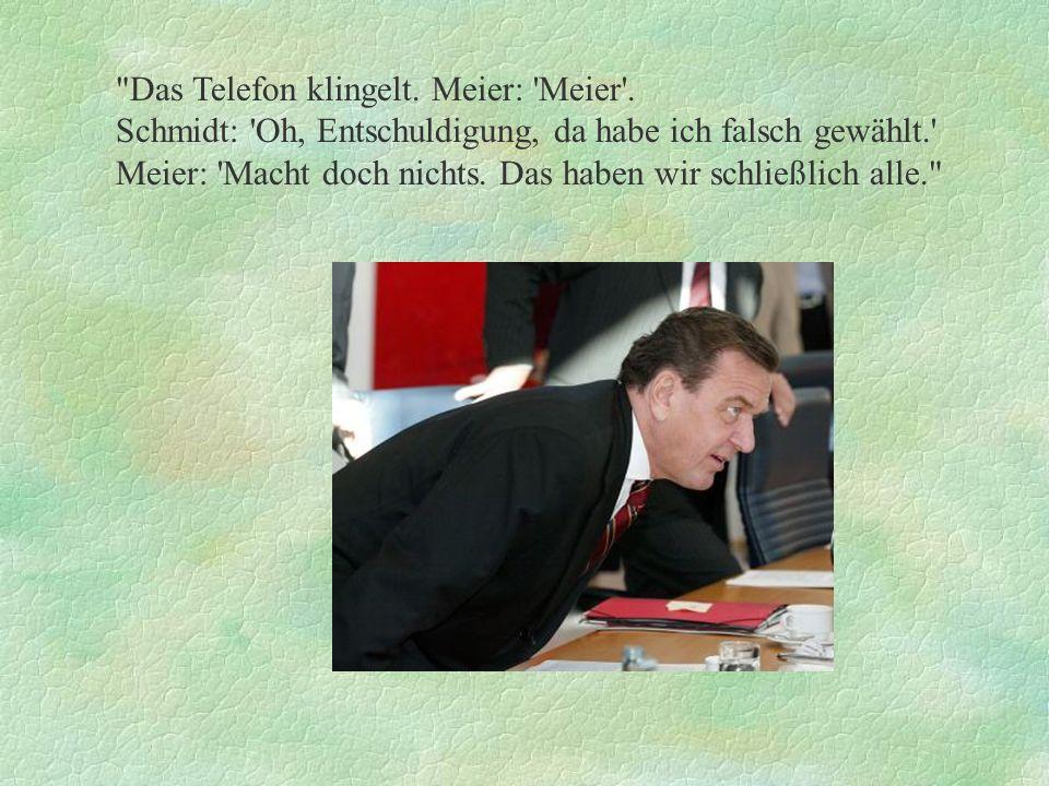 Das Telefon klingelt. Meier: Meier .