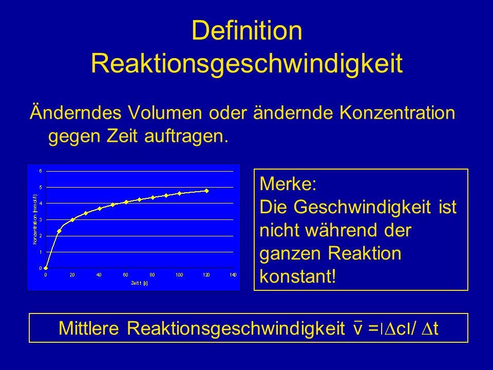 Definition Reaktionsgeschwindigkeit