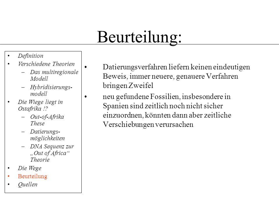 Beurteilung: Definition. Verschiedene Theorien. Das multiregionale Modell. Hybridisierungs-modell.