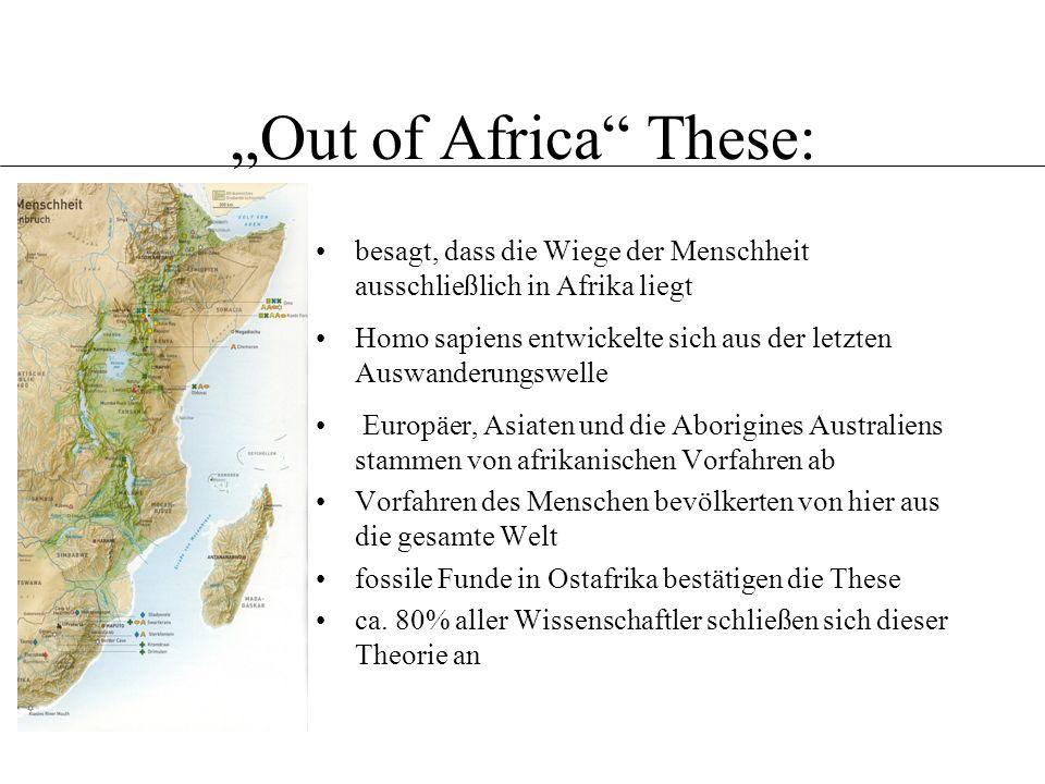 """""""Out of Africa These: Definition. Verschiedene Theorien. Das multiregionale Modell. Hybridisierungs-modell."""