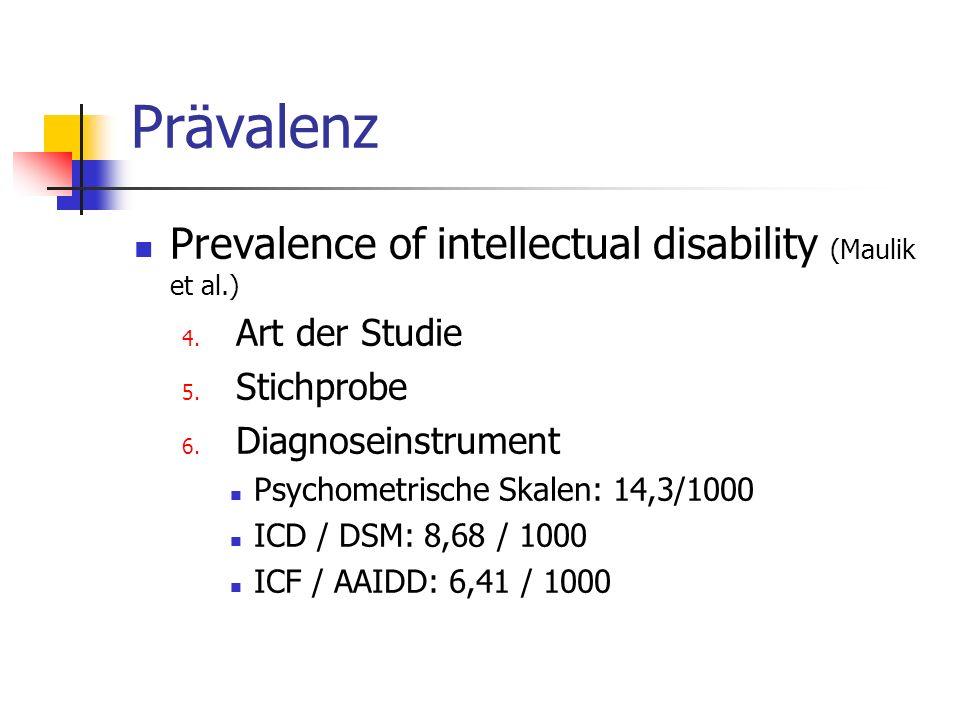 Prävalenz Prevalence of intellectual disability (Maulik et al.)