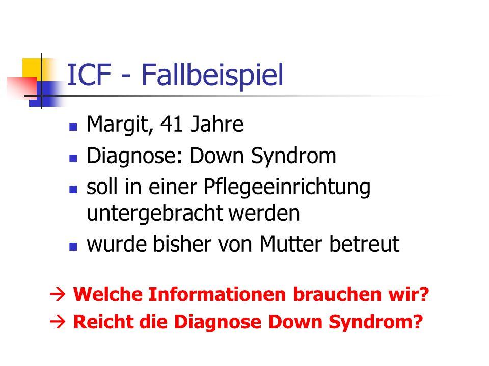 ICF - Fallbeispiel Margit, 41 Jahre Diagnose: Down Syndrom