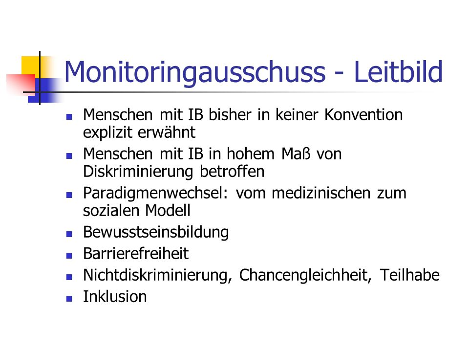 Monitoringausschuss - Leitbild