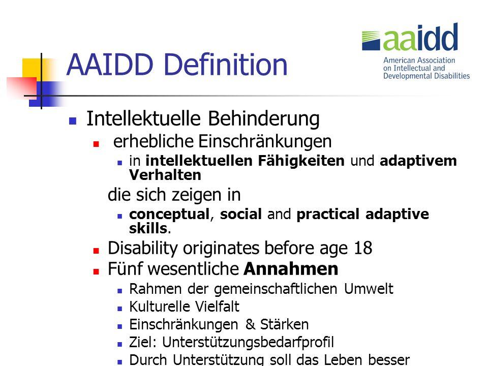AAIDD Definition Intellektuelle Behinderung erhebliche Einschränkungen