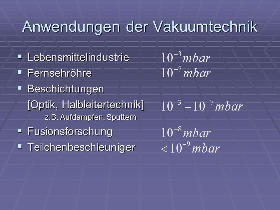 Anwendungen der Vakuumtechnik
