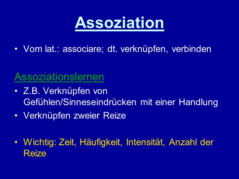 Assoziation Assoziationslernen
