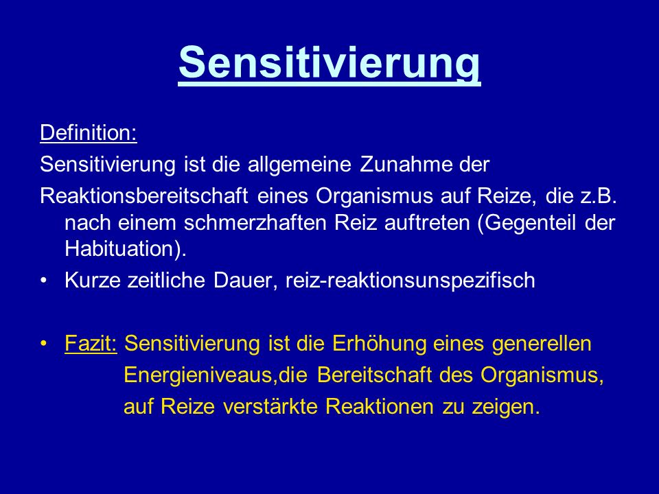 Sensitivierung Definition: