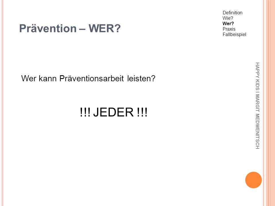 Prävention – WER Wer kann Präventionsarbeit leisten !!! JEDER !!!