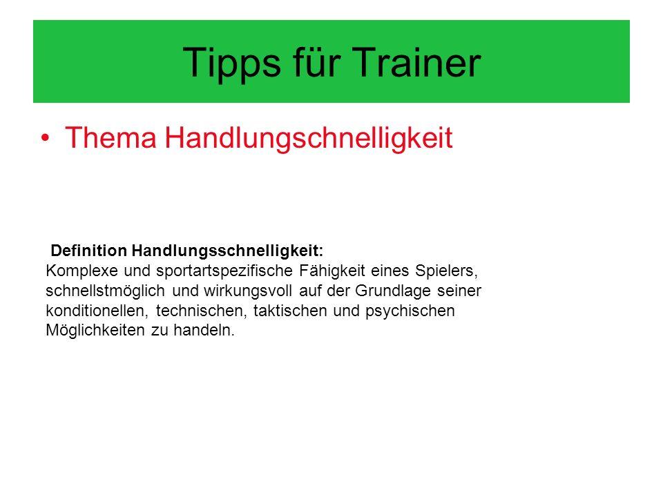 Tipps für Trainer Thema Handlungschnelligkeit
