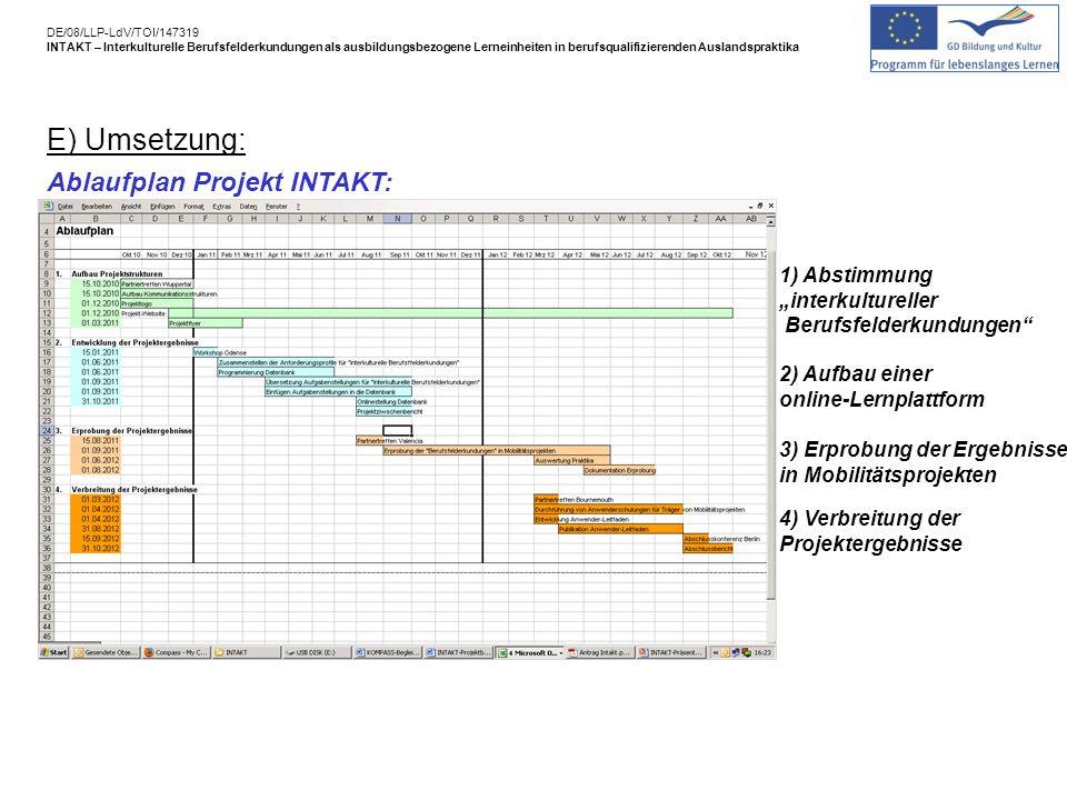 E) Umsetzung: Ablaufplan Projekt INTAKT: