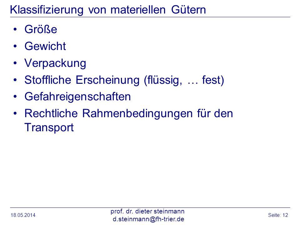 Klassifizierung von materiellen Gütern