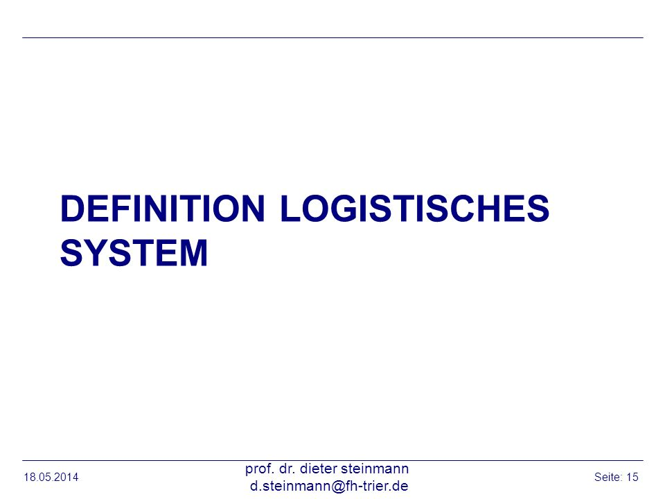 Definition logistisches system