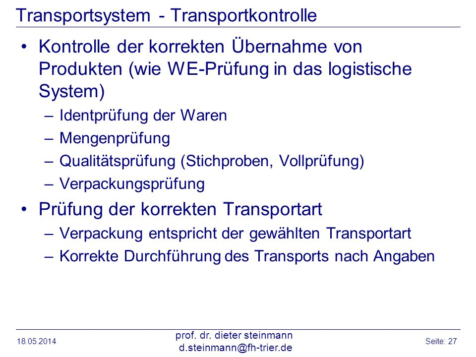 Transportsystem - Transportkontrolle