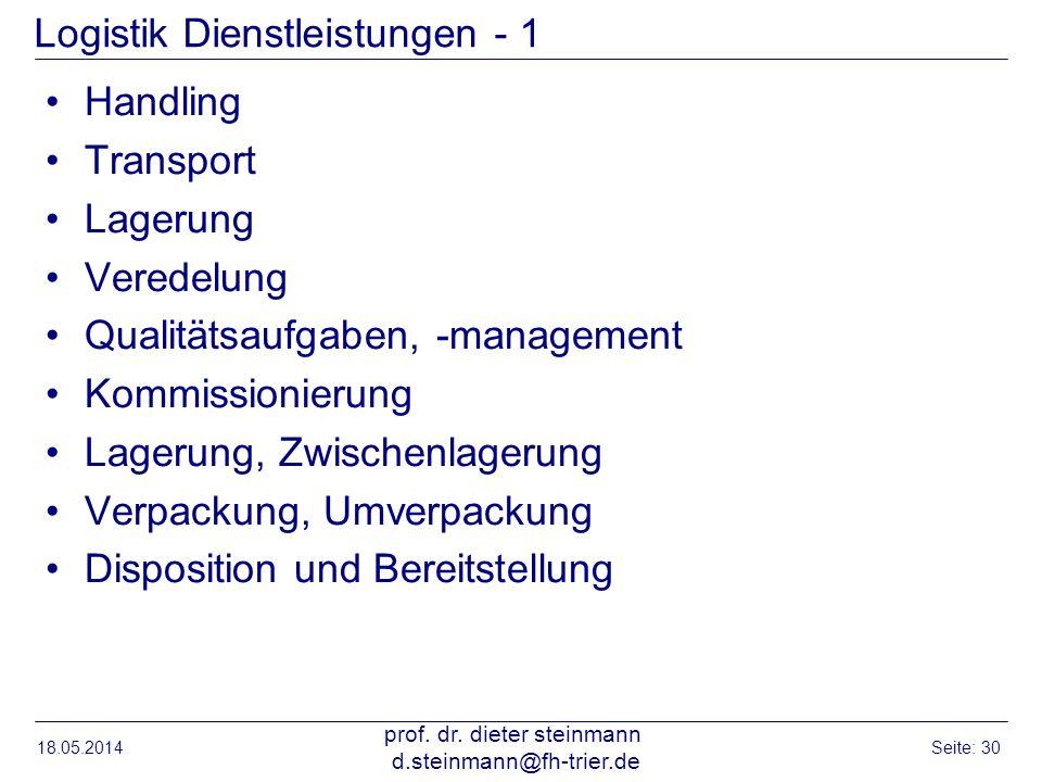 Logistik Dienstleistungen - 1