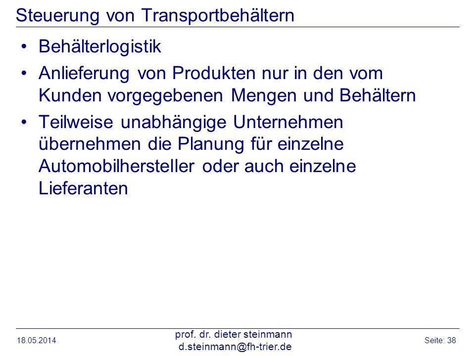 Steuerung von Transportbehältern