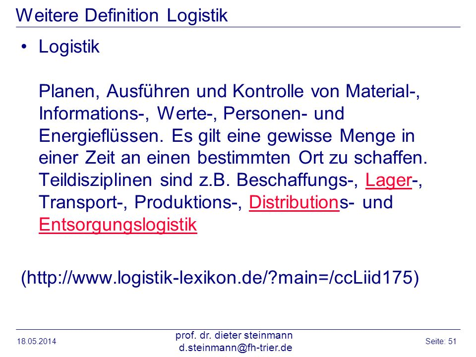 Weitere Definition Logistik