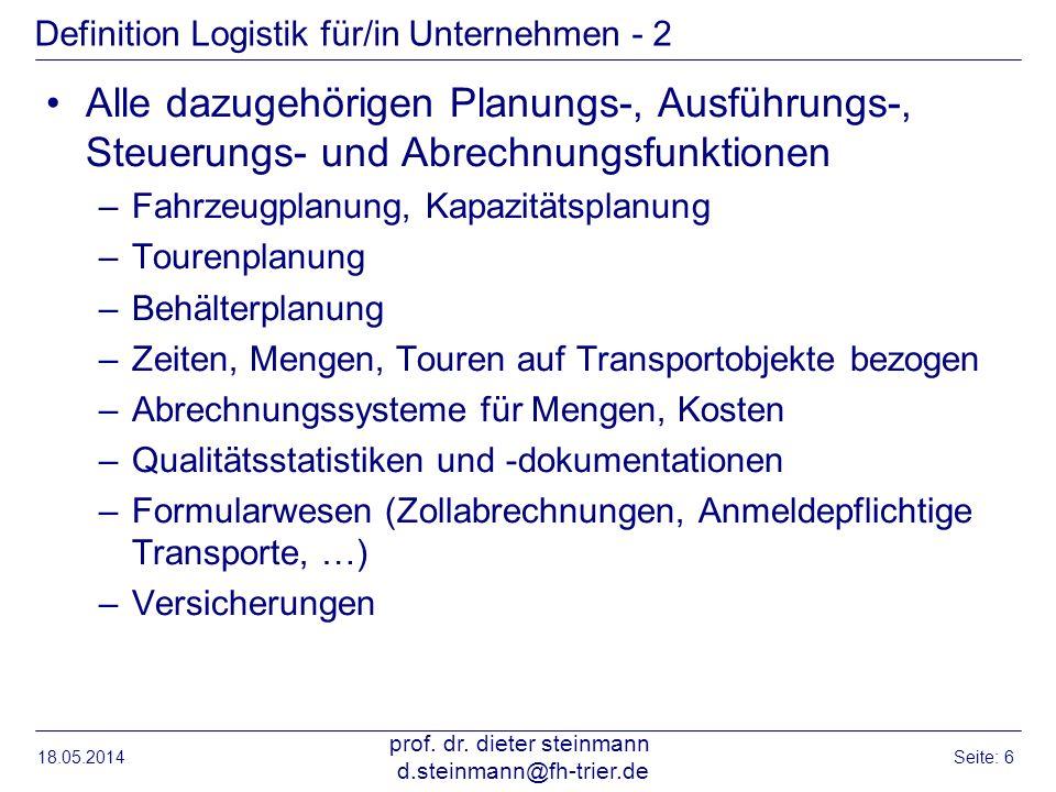 Definition Logistik für/in Unternehmen - 2