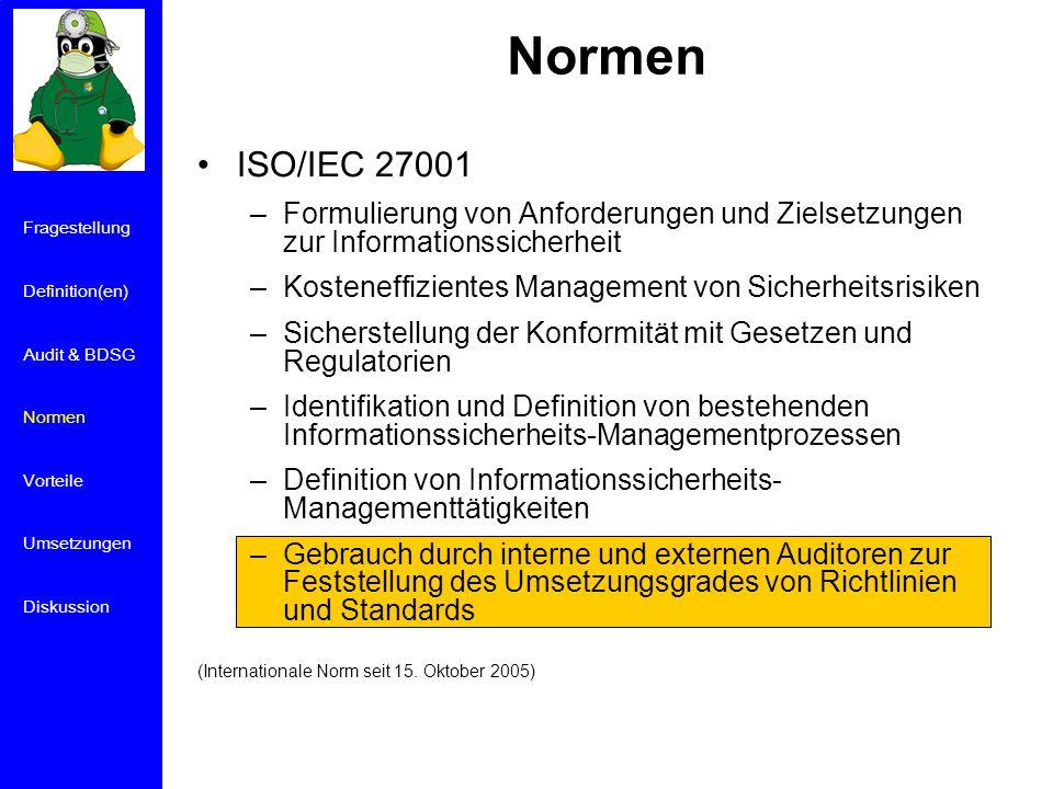 Normen ISO/IEC 27001. Formulierung von Anforderungen und Zielsetzungen zur Informationssicherheit.