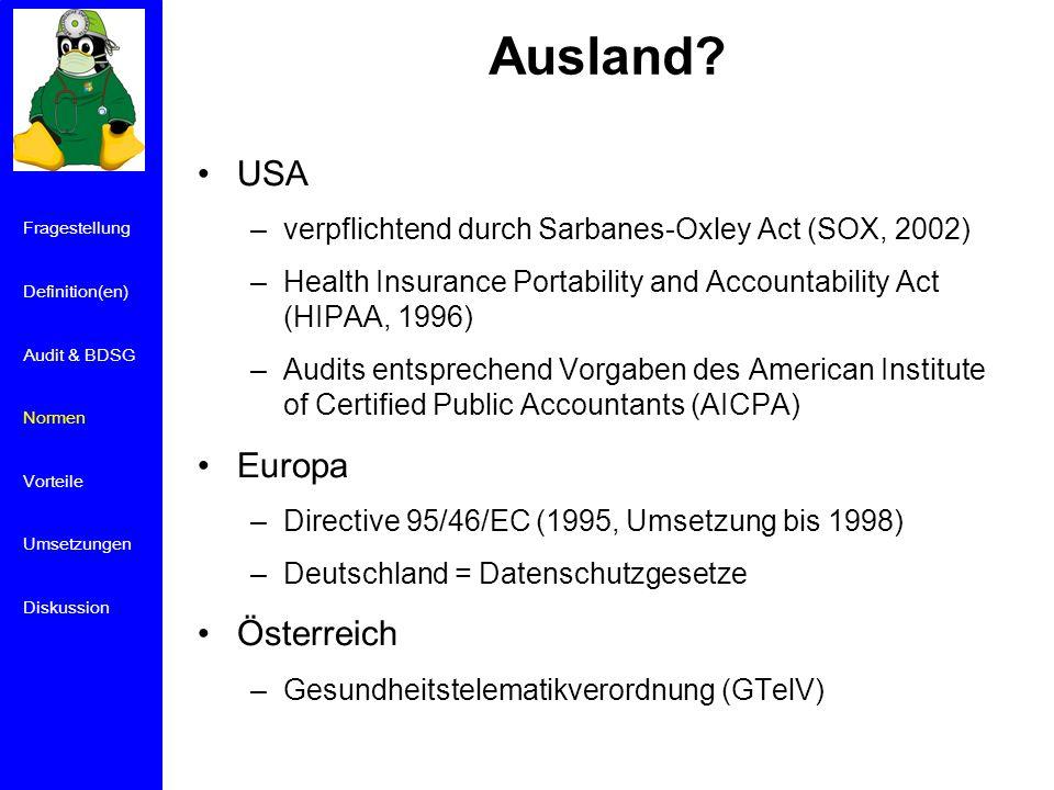 Ausland USA Europa Österreich