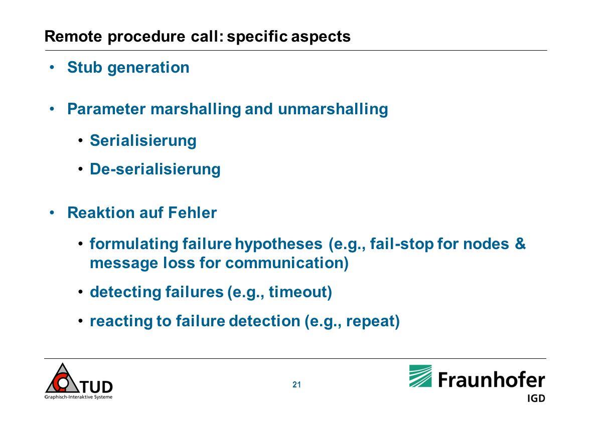 Remote procedure call: specific aspects