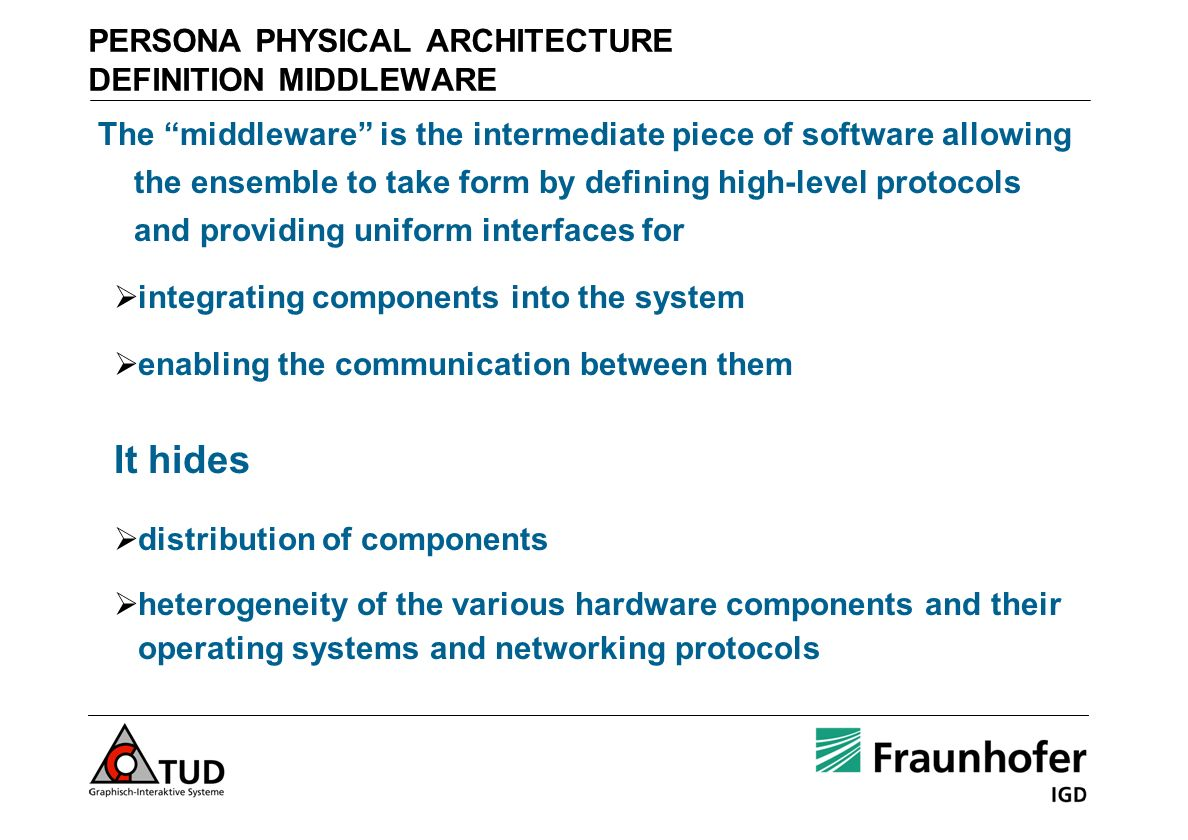 PERSONA PHYSICAL ARCHITECTURE DEFINITION MIDDLEWARE