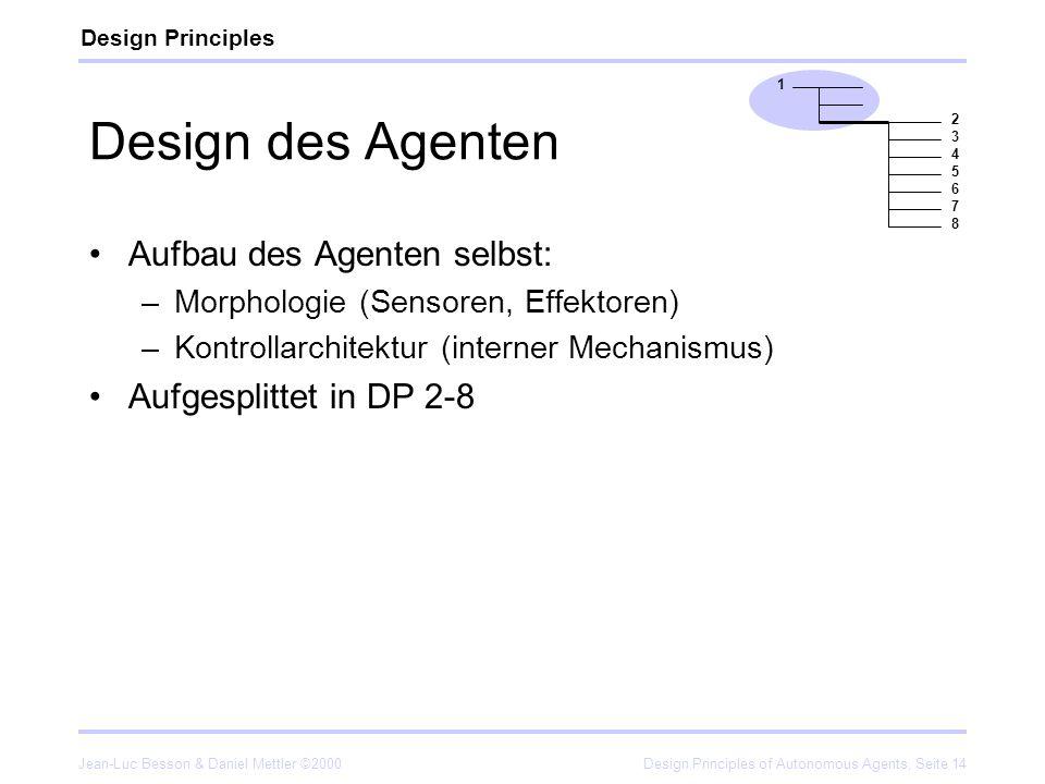 Design des Agenten Aufbau des Agenten selbst: Aufgesplittet in DP 2-8
