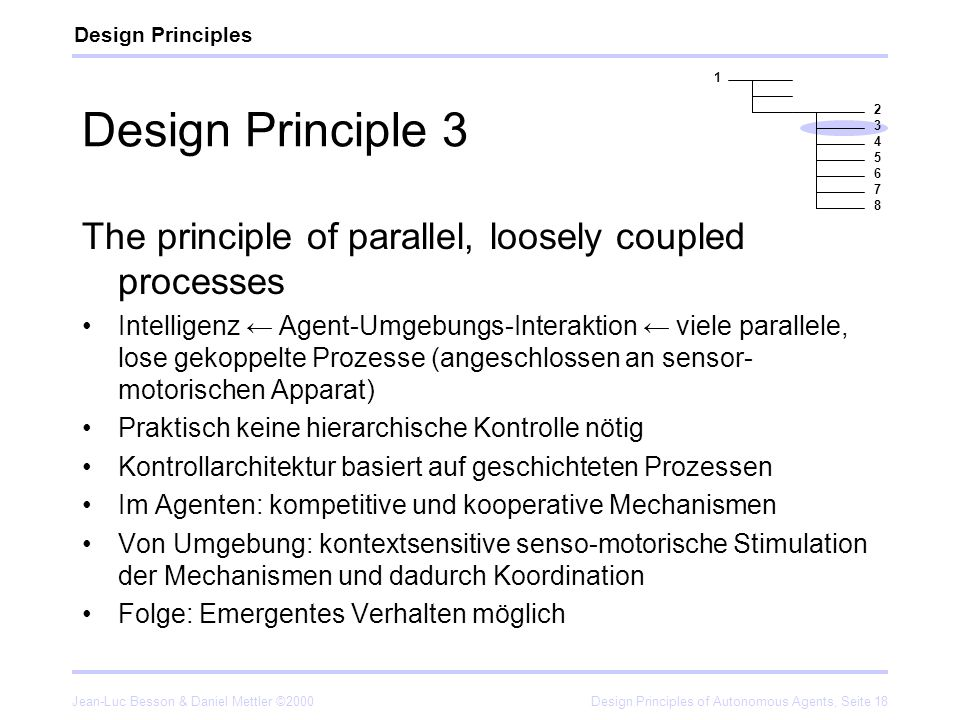 Design Principles 1. Design Principle 3. 2. 3. 4. 5. 6. 7. 8. The principle of parallel, loosely coupled processes.