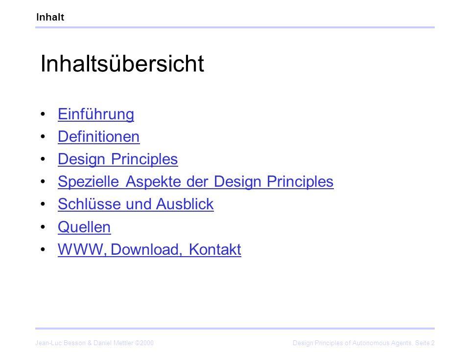 Inhaltsübersicht Einführung Definitionen Design Principles