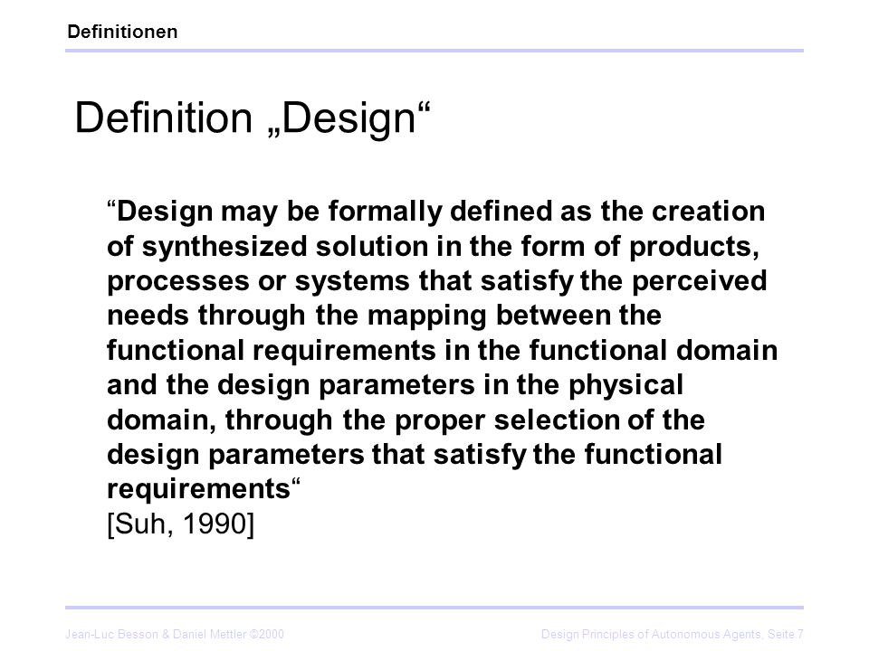 "Definitionen Definition ""Design"
