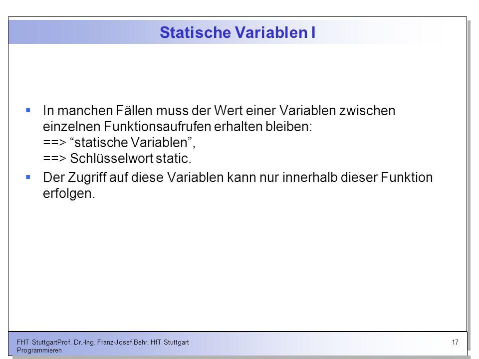 Statische Variablen I