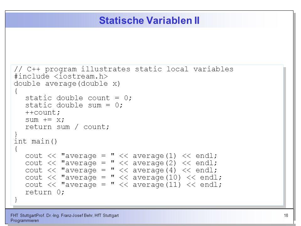 Statische Variablen II