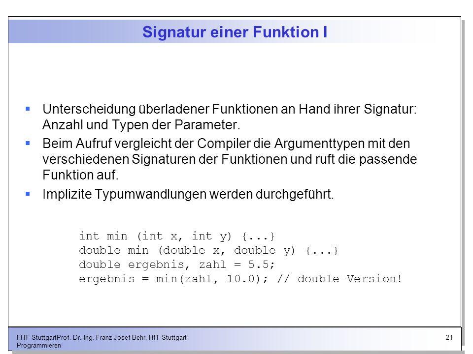 Signatur einer Funktion I