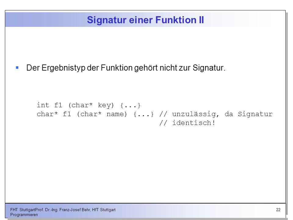 Signatur einer Funktion II