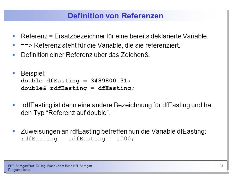 Definition von Referenzen