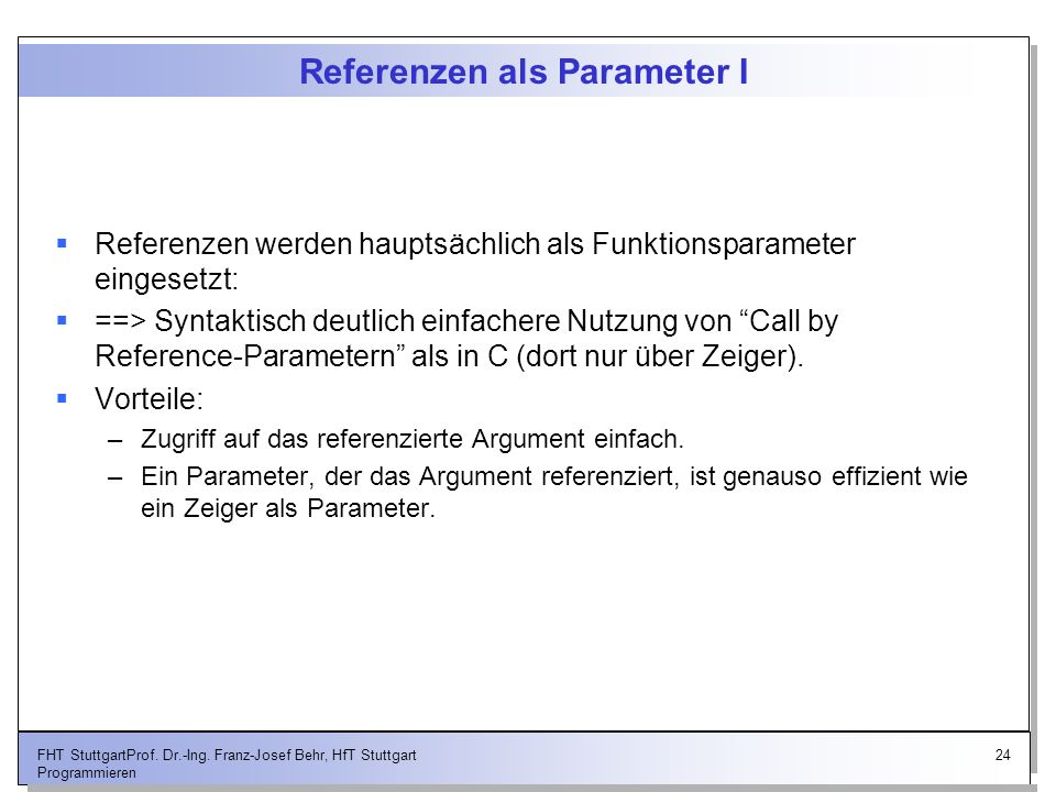 Referenzen als Parameter I